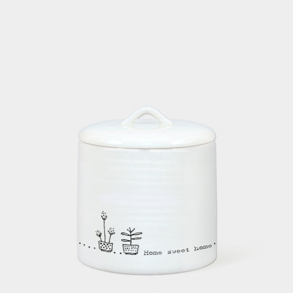 Porcelain lidded pot - Home Sweet Home