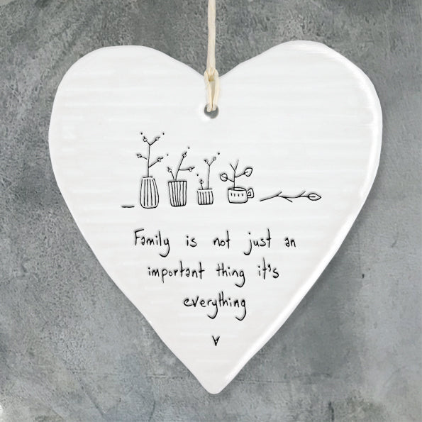 Porcelain wobbly Heart hanger- Family is Everything