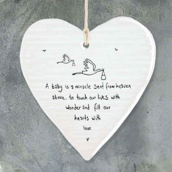 Porcelain wobbly Heart hanger- A Baby is a Miracle