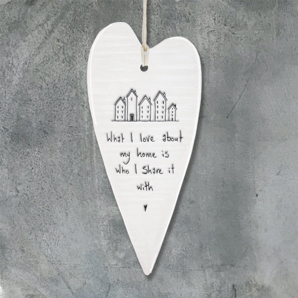 Porcelain long wobbly Heart hanger- What I love about my home
