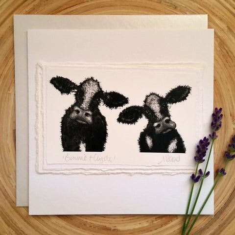 Bonnie & Clyde, Cows - Greetings Card