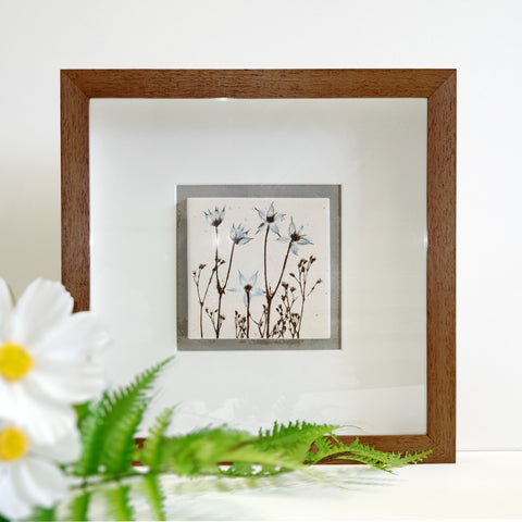 Framed Blue Botanical Ceramic Tile