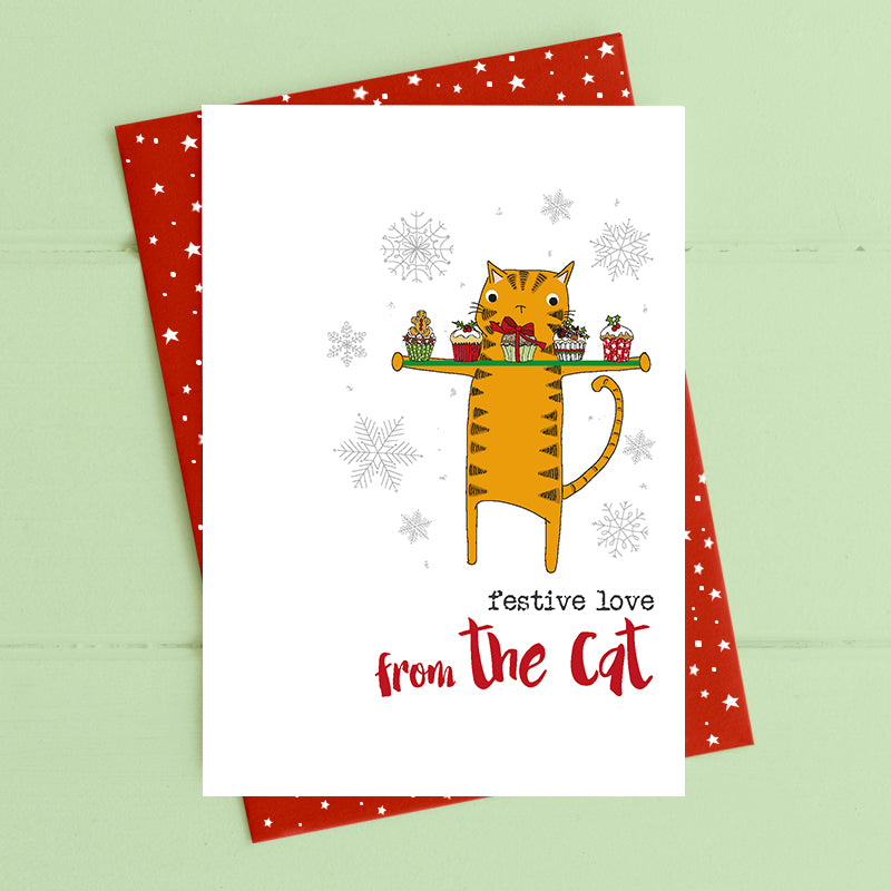 Festive love from the cat - Christmas Card