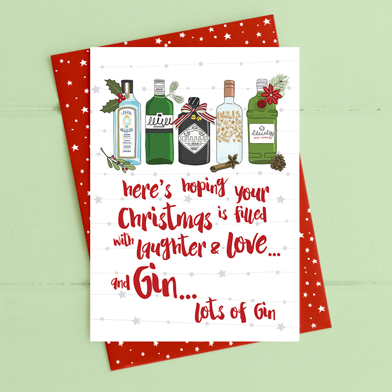 Christmas filled with Gin- Christmas Card
