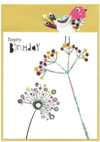 Happy Birthday Bird with Seed Heads - Birthday card