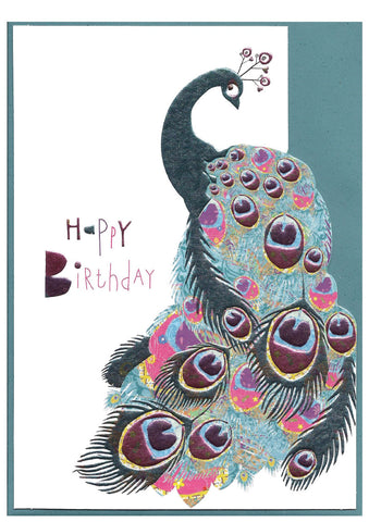 Happy Birthday Peacock Card - Birthday card