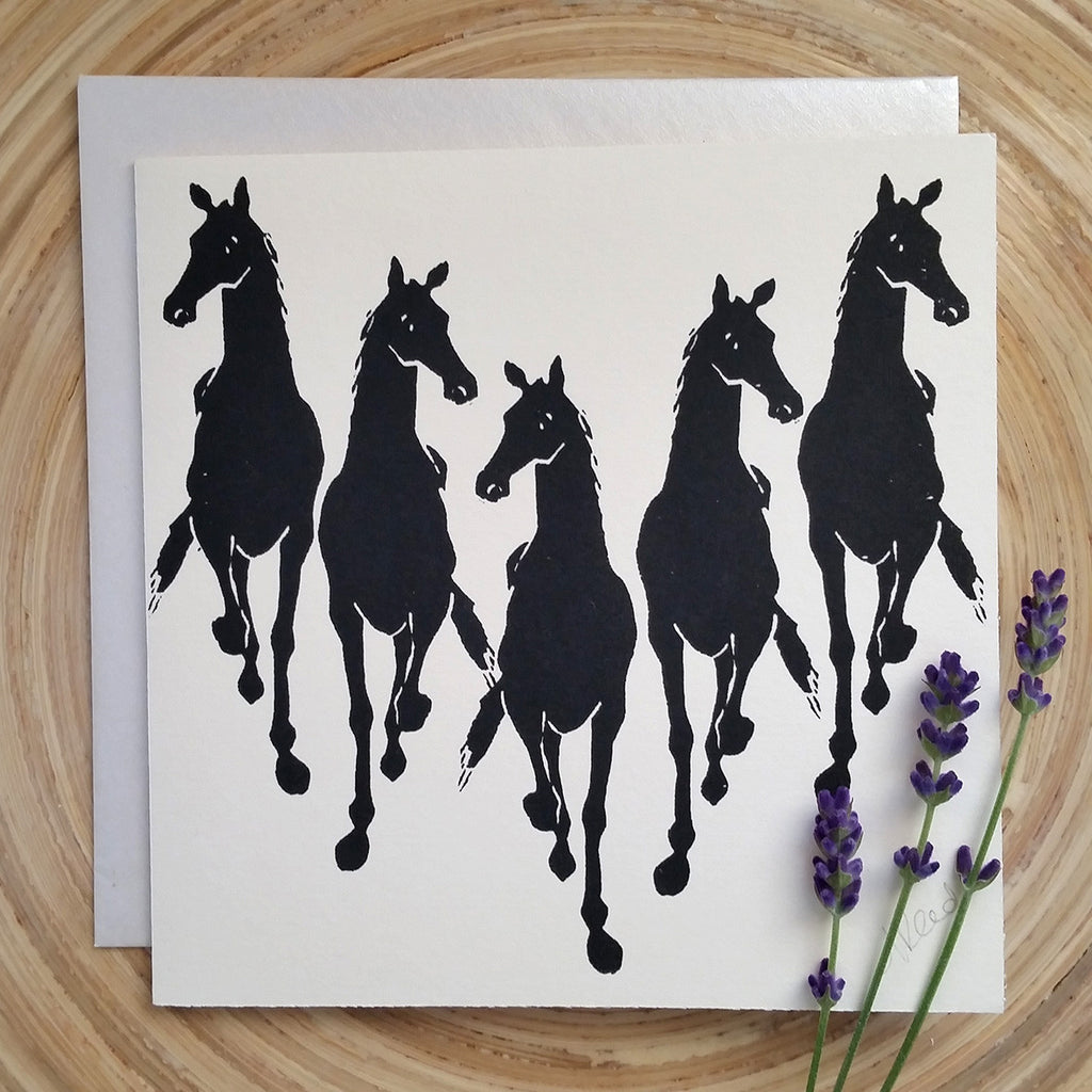 Galloping Horses - Greetings Card