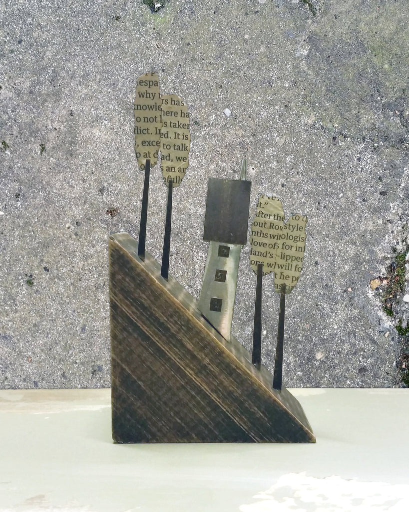 'The Rise' House on the Hill' - Metal & driftwood Sculpture