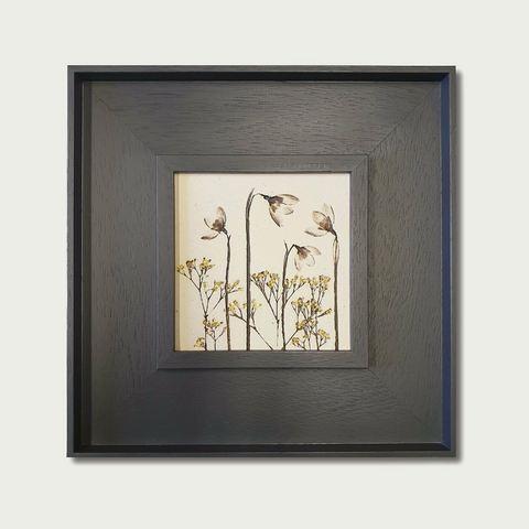 Framed Botantical Snowdrop Ceramic Tile with 24ct Gold Leaf