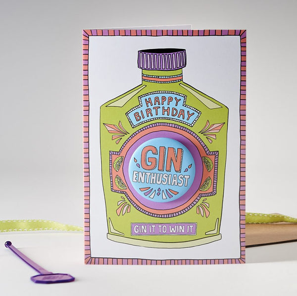 Happy Birthday Gin Enthusiast - Badge Card