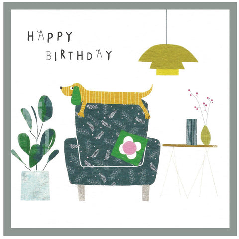 Happy birthday- sausage dog on an armchair - Greetings card