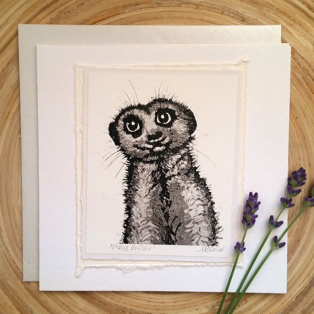 Nosey Parker, Meerkat - Greetings Card