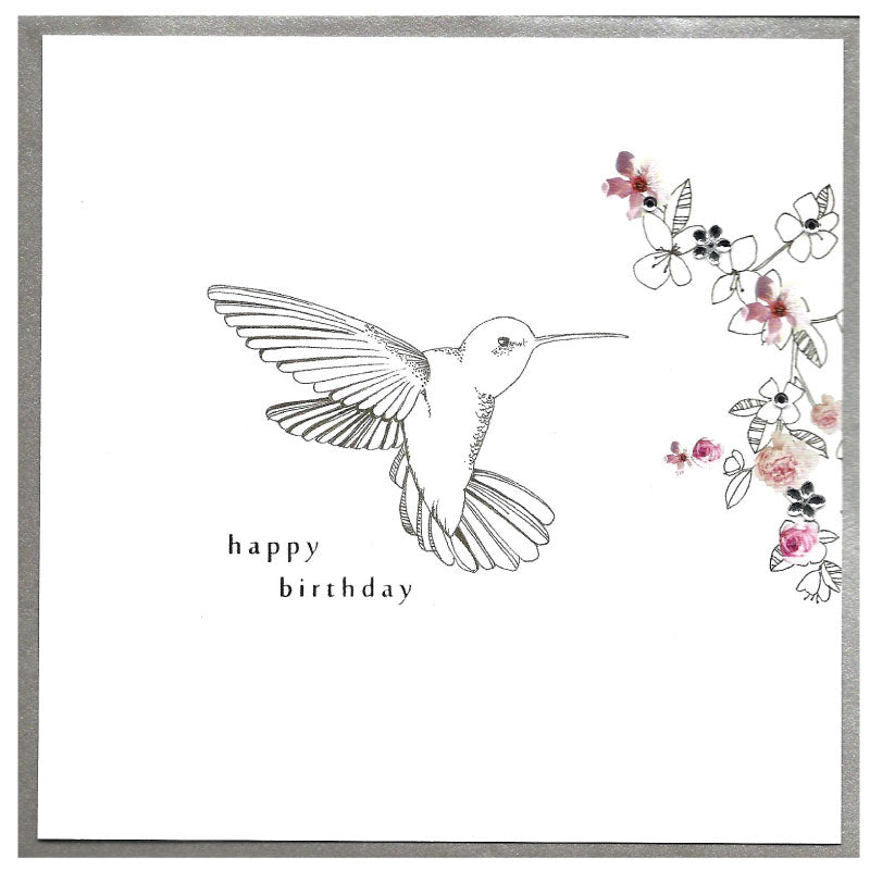 Happy  Birthday hummingbird - Greetings card