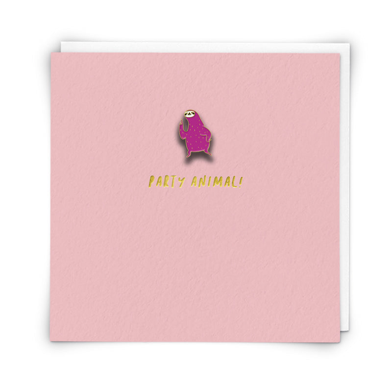 Party Animal! -Sloth  Enamel pin badge card