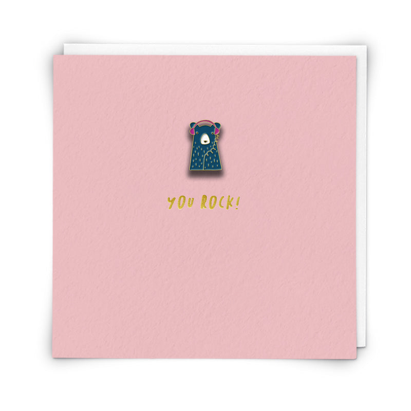 You Rock ! - Bear with Headphones Enamel pin badge card
