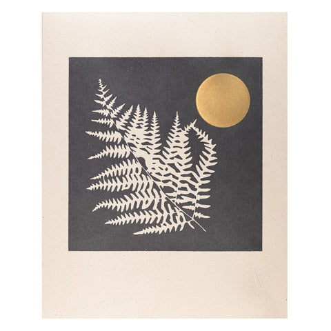 Nightime Fern Handmade Vintage Press Print