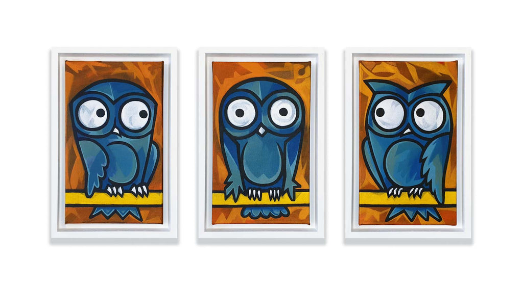 Owl Branch Triptych - Original on Canvas