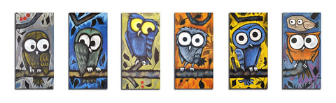 Owls on Branch original canvas set