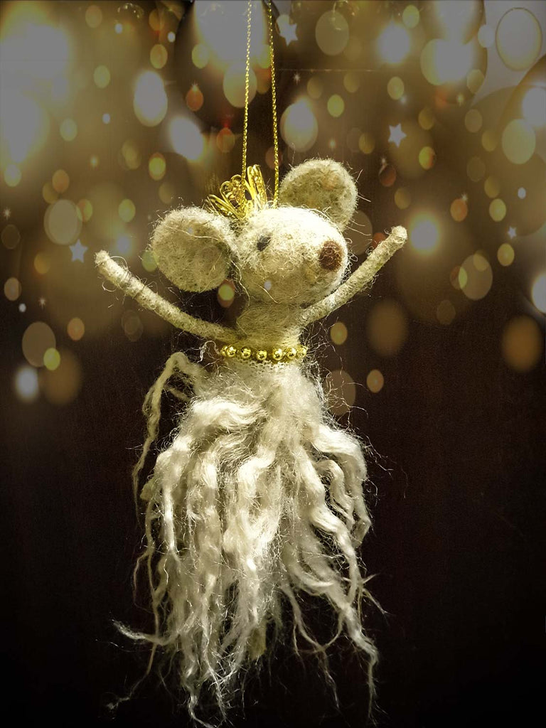 Mouse in wool dress and crown -  decoration