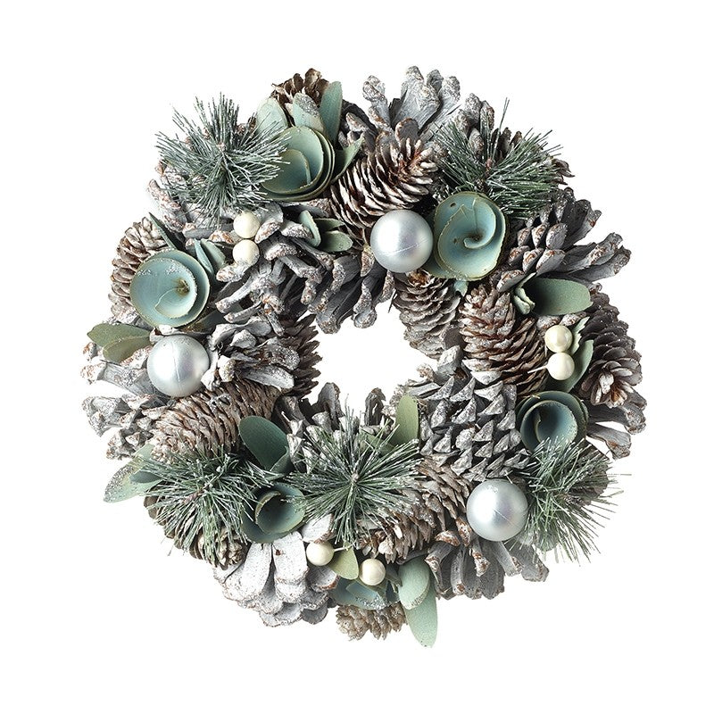 Pale green wreath with silver balls