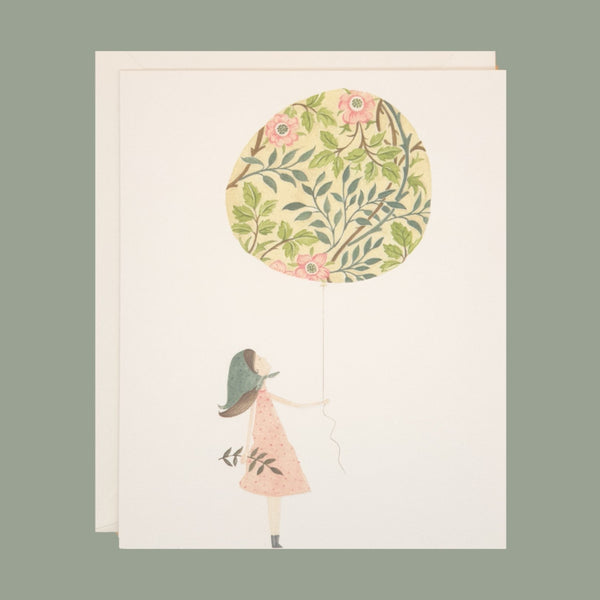 Girl and a floral balloon - greetings card