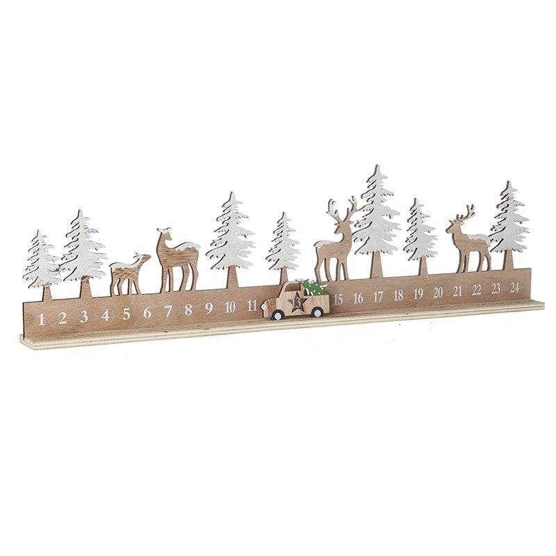 Wooden Christmas countdown with car-  decoration