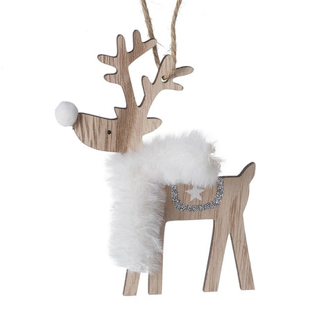 Wooden reindeer with scarf decoration