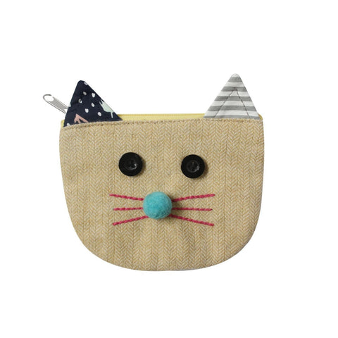 Herringbone Cats Face Purse - Yellow