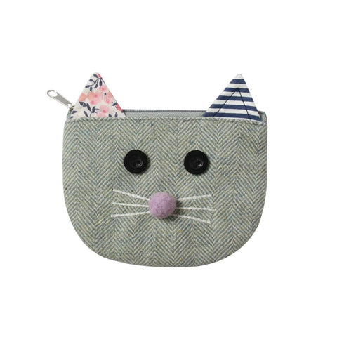 Herringbone Cats Face Purse - Aqua