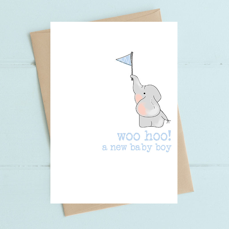Woo Hoo Baby Boy - Greetings Card