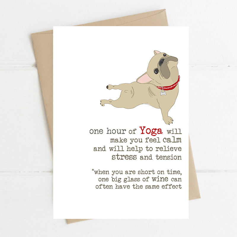 An hour of yoga or a glass of wine- Greetings Card