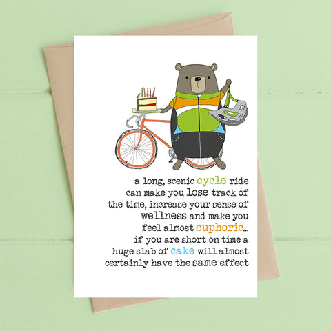A long scenic cycle ride can make you lose track of the time- Greetings Card