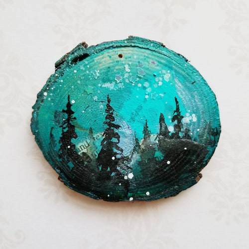 Mini Evening Trees Wood Ornament