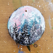 Load image into Gallery viewer, 29 Mini Evening Trees Wood Ornament