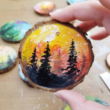 Load image into Gallery viewer, 38 Mini Evening Trees Wood Ornament