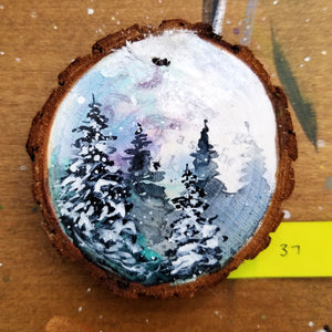 37 Mini Evening Trees Wood Ornament