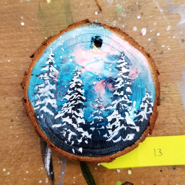 13 Mini Evening Trees Wood Ornament