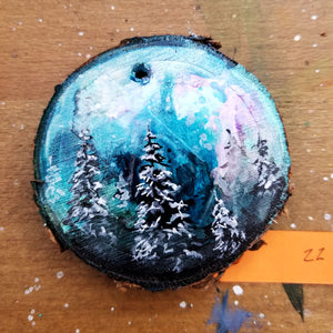 22 Mini Evening Trees Wood Ornament