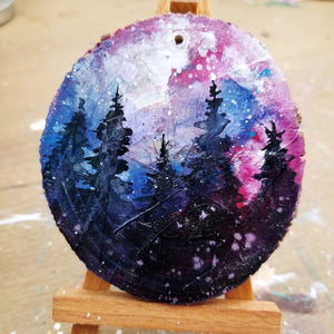 20 Mini Evening Trees Wood Ornament