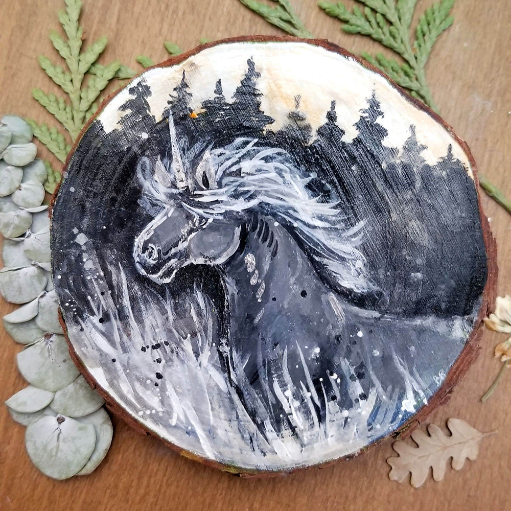 Dusk Unicorn Wood Round