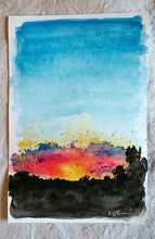 Load image into Gallery viewer, 8/31 || Original Sunset Watercolor 6x9""