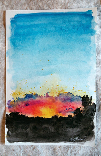 8/31 || Original Sunset Watercolor 6x9