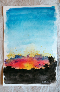 8/31 || Original Sunset Watercolor 6x9""