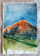 Load image into Gallery viewer, Sunset on Desert Mountain || Original Watercolor 6x9""