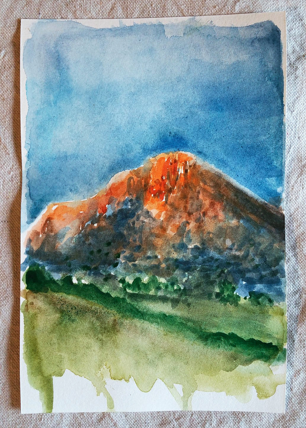 Sunset on Desert Mountain || Original Watercolor 6x9