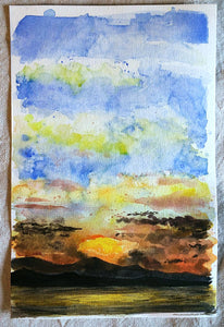 5/31 || Original Sunset Watercolor 6x9""