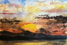 Load image into Gallery viewer, 5/31 || Original Sunset Watercolor 6x9""
