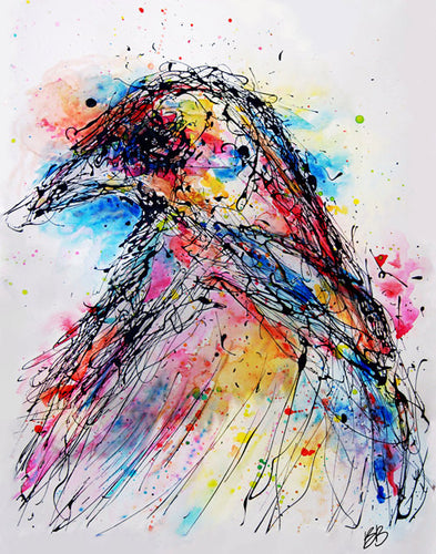 Drip Crow || Original Abstract Drip Painting 24x18