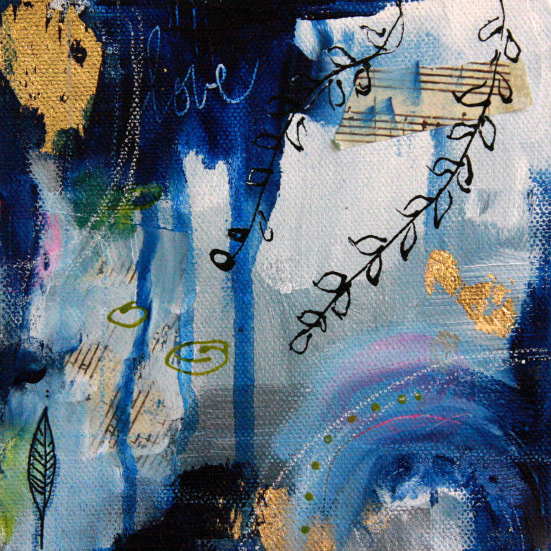 Deep Blue II || Original Abstract Mixed Media Painting 6x6