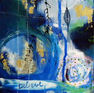 Deep Blue III || Original Abstract Mixed Media Painting 6x6